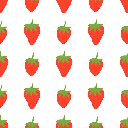 Strawberry. Colored Seamless Vector Patterns in Flat style. Isolated Pattern for notebook, textile, packaging.