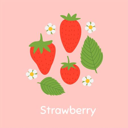 Strawberry. Vegetarian, healthy food. Colored Vector Illustration EPS. Isolated Background. Ilustração