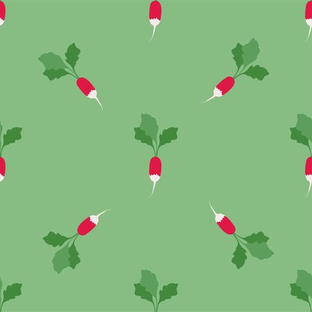 Radish. Colored Seamless Vector Patterns in Flat style. Isolated Pattern for notebook, textile, packaging.