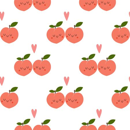 Kawaii Cartoon Peach in love. Colored Seamless Vector Patterns in Flat style. Isolated Pattern for notebook, textile, packaging.