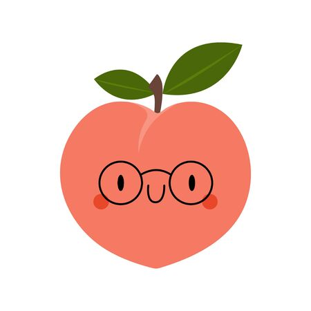 Kawaii Cartoon Peach with glasses. Colored Vector Illustration EPS. Isolated Background.
