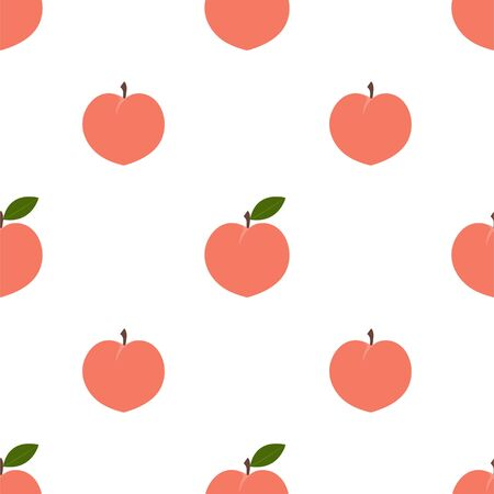 Peach. Colored Seamless Vector Patterns in Flat style. Isolated Pattern for notebook, textile, packaging. Ilustração