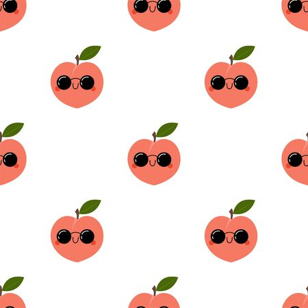 Kawaii Cartoon Peach in sunglasses. Colored Seamless Vector Patterns in Flat style. Isolated Pattern for notebook, textile, packaging.