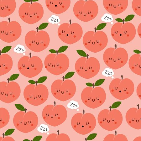 Kawaii Cartoon Sleeping Peach. Colored Seamless Vector Patterns in Flat style. Isolated Pattern for notebook, textile, packaging. Ilustração