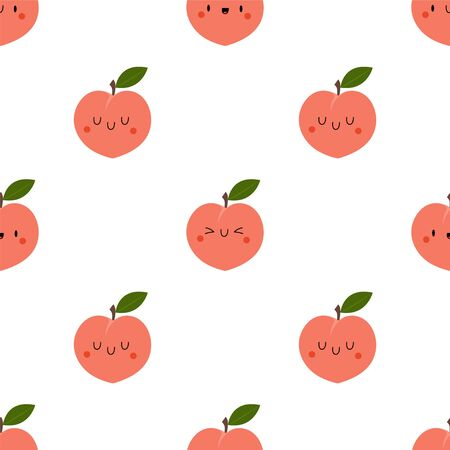 Kawaii Cartoon Peach. Colored Seamless Vector Patterns in Flat style. Isolated Pattern for notebook, textile, packaging.