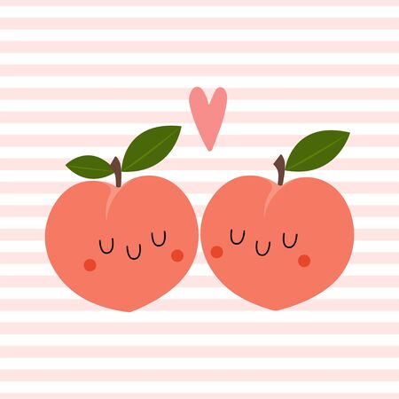 Kawaii Cartoon Peach in love. Colored Vector Illustration EPS. Isolated Background.