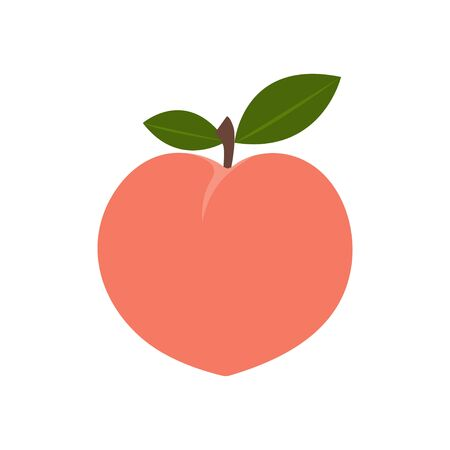 Peach. Colored Vector Illustration EPS. Isolated Background.