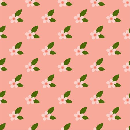 Peach Blossom. Colored Seamless Vector Patterns in Flat style. Isolated Pattern for notebook, textile, packaging.