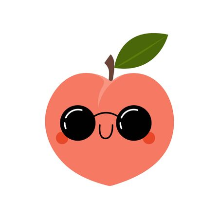 Kawaii Cartoon Peach in sunglasses. Colored Vector Illustration EPS. Isolated Background.