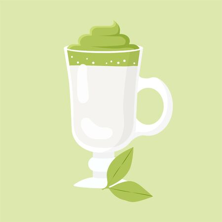 Dalgona Coffee with Matcha Tea. Popular Beverage from South Korea. Colored Vector Illustration EPS. Isolated Background.