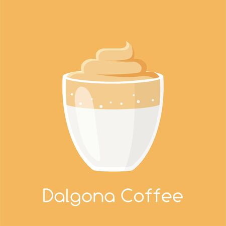 Classic Dalgona Coffee. Popular Beverage from South Korea. Colored Vector Illustration EPS. Isolated Background.