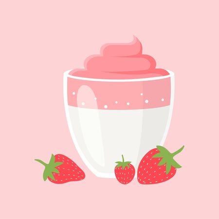 Dalgona Coffee with Strawberries and Cream. Popular Beverage from South Korea. Colored Vector Illustration EPS. Isolated Background.