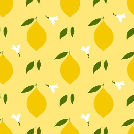 Lemon. Colored Seamless Vector Patterns in Flat style. Isolated Pattern for notebook, textile, packaging.