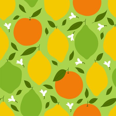 Lemon, Lime and Orange. Colored Seamless Vector Patterns in Flat style. Isolated Pattern for notebook, textile, packaging.
