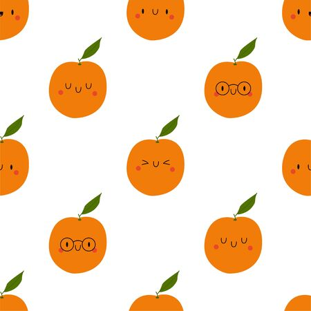 Kawaii Cartoon Orange. Colored Seamless Vector Patterns in Flat style. Isolated Pattern for notebook, textile, packaging.