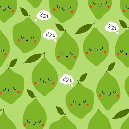 Kawaii Cartoon Sleeping Lime. Colored Seamless Vector Patterns in Flat style. Isolated Pattern for notebook, textile, packaging.