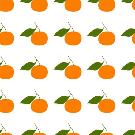 Tangerine, Clementine. Colored Seamless Vector Patterns in Flat style. Isolated Pattern for notebook, textile, packaging.