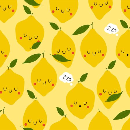 Kawaii Cartoon Sleeping Limon. Colored Seamless Vector Patterns in Flat style. Isolated Pattern for notebook, textile, packaging.