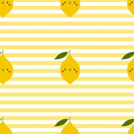 Kawaii Cartoon Lemon. Colored Seamless Vector Patterns in Flat style. Isolated Pattern for notebook, textile, packaging.
