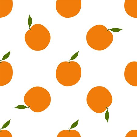 Orange. Colored Seamless Vector Patterns in Flat style. Isolated Pattern for notebook, textile, packaging.