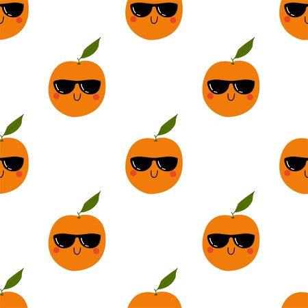 Kawaii Cartoon Orange in sunglasses. Colored Seamless Vector Patterns in Flat style. Isolated Pattern for notebook, textile, packaging.