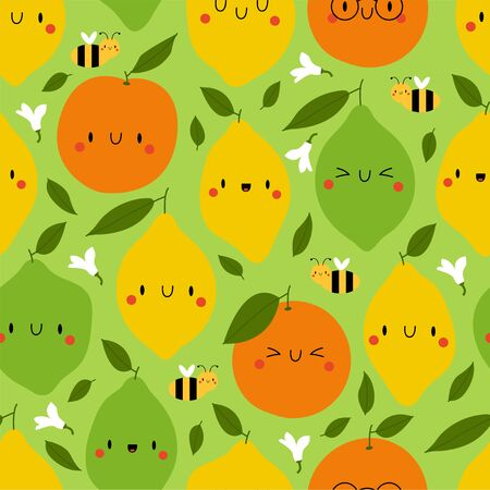 Kawaii Cartoon Lemon, Lime and Orange. Colored Seamless Vector Patterns in Flat style. Isolated Pattern for notebook, textile, packaging.