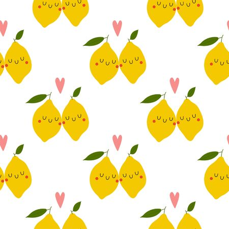 Kawaii Cartoon Lemon in love. Colored Seamless Vector Patterns in Flat style. Isolated Pattern for notebook, textile, packaging.