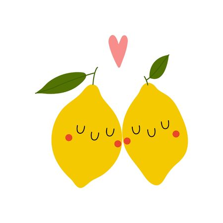 Kawaii Cartoon Lemon in love. Colored Vector Illustration EPS. Isolated Background.
