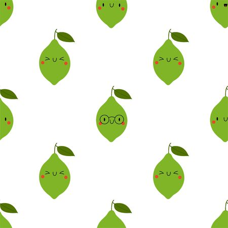Kawaii Cartoon Lime. Colored Seamless Vector Patterns in Flat style. Isolated Pattern for notebook, textile, packaging.