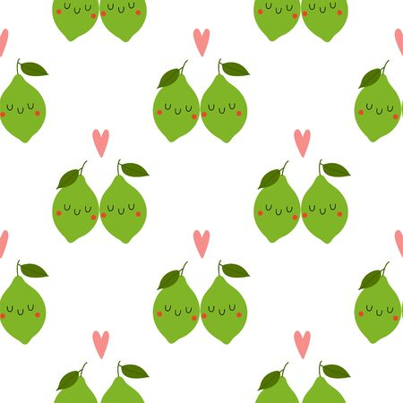 Kawaii Cartoon Lime in love. Colored Seamless Vector Patterns in Flat style. Isolated Pattern for notebook, textile, packaging.