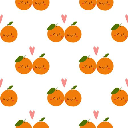 Kawaii Cartoon Orange in love. Colored Seamless Vector Patterns in Flat style. Isolated Pattern for notebook, textile, packaging.