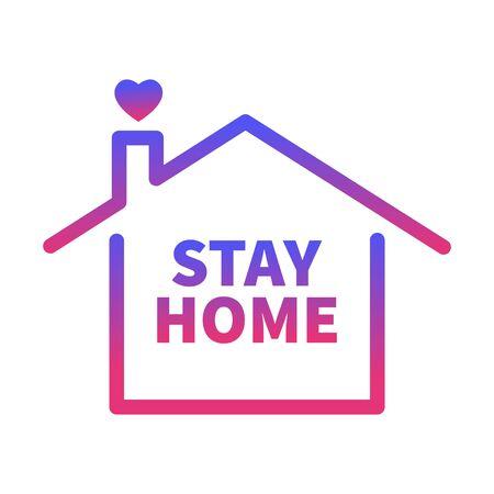 Bleib zu Hause, Herz, Zuhause. Coronavirus Covid 19. Isoliertes Vektor-Aufkleber-Symbol auf weißem Hintergrund Vektorgrafik