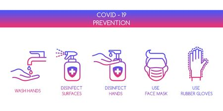 Coronavirus Covid 19 Prevention. Personal Hygiene. Line Icons Set Isolated on White background. Icons Face Mask, Gloves, Wash Disinfect Hands, Stay Home.
