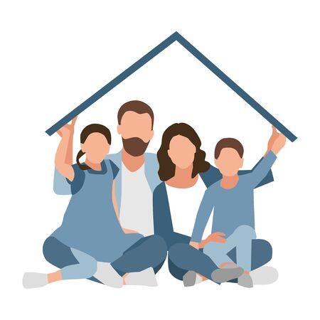 Family Sitting Home. Stay Home, Quarantine, Self-isolation. Fears of getting Coronavirus Covid 19. Global Viral Epidemic or Pandemic. Isolated Flat Vector Illustration on White.