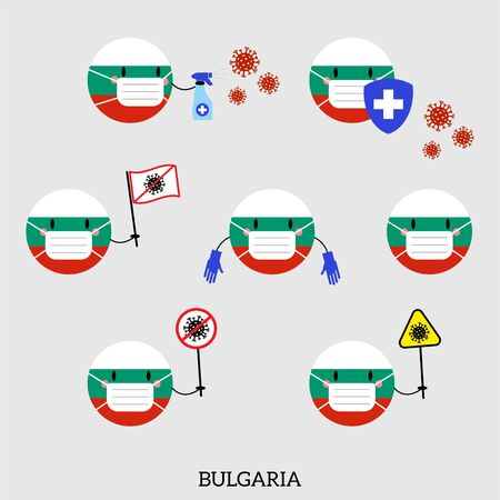 Set of Bulgaria Country Balls Icons. Emoji Character with Flag of Bulgaria in Medical Mask against Coronavirus, Covid 19. Flat Symbols. Vector illustration 向量圖像