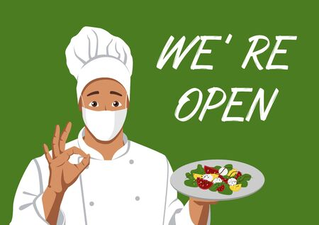 Cafes reopen after Coronavirus Restrictions. Male cook in a medical mask reports that the cafe is open. Coronavirus Covid 19 Epidemic. Flat Vector Illustration EPS 10. Vector Illustration