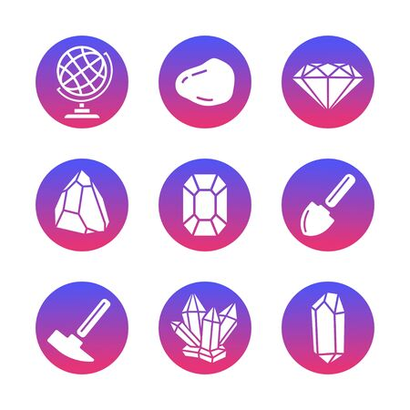 Geology Icons Set in a Flat Style. Geological Hammer, Shovel, Globe, Crystal, Stone. Collection Infographic and Pictogram with trendy gradient. White background