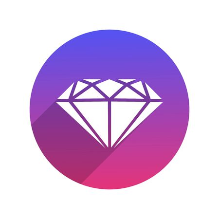 Diamond Icon in a Flat Style with Shadow. Vector illustration. Infographic  and Pictogram with trendy gradient. White background