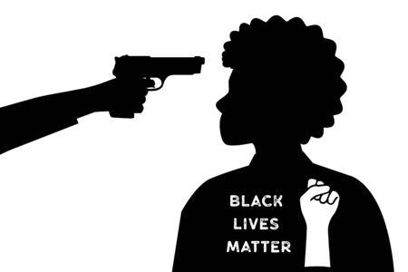 The white man put a gun to the head of a black woman. Black Lives Matter. 写真素材 - 148864489
