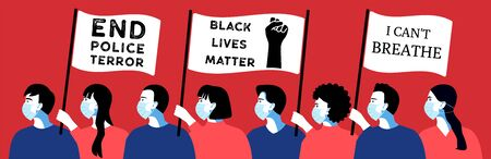 Crowd of people at a rally against racism. People with posters and flags. Black Lives Matter  イラスト・ベクター素材