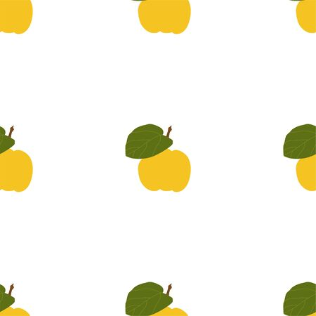 Quince. Seamless Vector Patterns on White Vettoriali