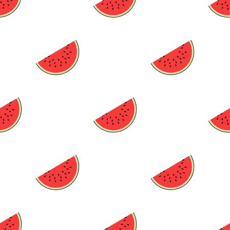 Watermelon slices. Seamless Patterns on White Background