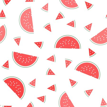 Watermelon. Seamless Vector Patterns on White Background