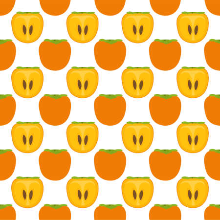 Persimmon Fruit. Seamless Vector Patterns on White Background