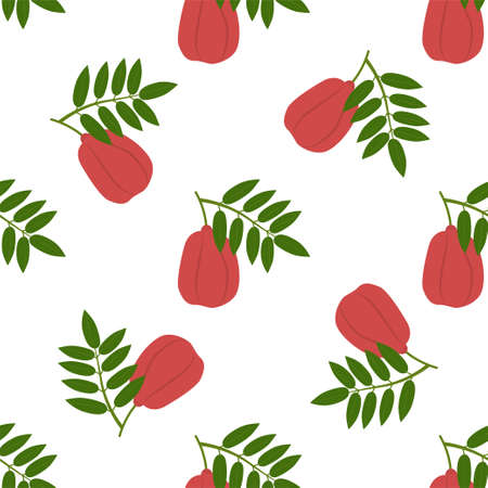 Ackee Fruit. Seamless Vector Patterns on White Background