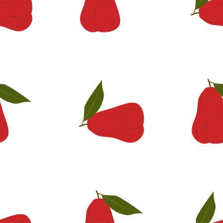 Chompu Fruit. Seamless Vector Patterns on White Background Stock fotó - 152483319