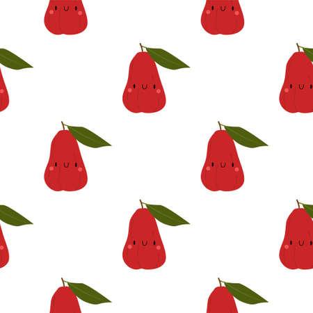 Kawaii Cartoon  Chompu Fruit. Seamless Vector Patterns on White Background Stock fotó - 152483355