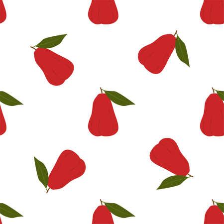 Chompu Fruit. Seamless Vector Patterns on White Background Stock fotó - 152483361