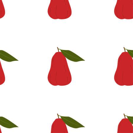 Chompu Fruit. Seamless Vector Patterns on White Background Stock fotó - 152483372