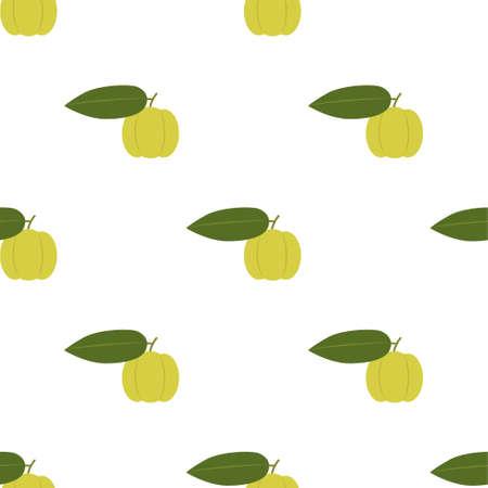Star Gooseberry Fruit. Seamless Vector Patterns on White Background